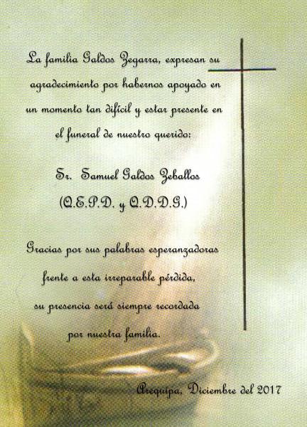 Agradecimiento Familia Galdos Zegarra